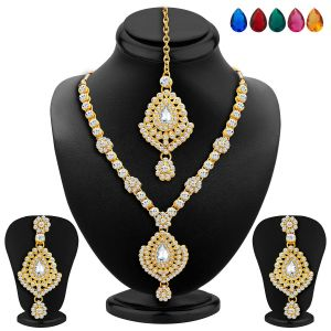 Sukkhi,Sangini,Lime,Gili,Clovia Women's Clothing - Sukkhi Graceful Gold Plated Ad Necklace Set With Set Of 5 Changeable Stone - (Code - 2347NADA1430)
