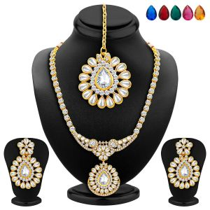 Hoop,Kiara,Oviya,Gili,Parineeta,Surat Tex,Sukkhi,Sangini Women's Clothing - Sukkhi Appealing Gold Plated Ad Necklace Set With Set Of 5 Changeable Stone - (Code - 2354NADA1340)