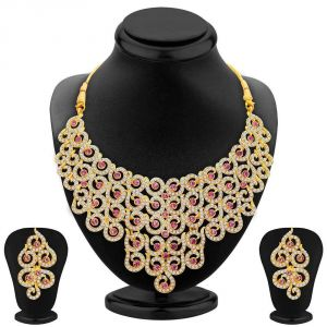 Kiara,Sparkles,Jagdamba,Cloe,Bagforever,Sukkhi,Asmi,Diya Women's Clothing - Sukkhi Divine Gold Plated Ad Necklace Set For Women - (Code - 2378NADS1350)