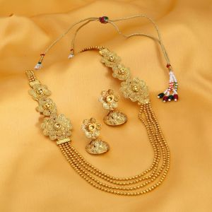 Jagdamba,Clovia,Sukkhi,Estoss,The Jewelbox,Mahi,Parineeta Women's Clothing - Sukkhi Pleasing 4 String Jalebi Gold Plated Alloy Long Haram Necklace Set For Women - (Code - N71498GLDPH850)