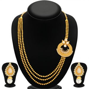 hoop,shonaya,soie,platinum,sukkhi,la intimo Necklace Sets (Imitation) - Sukkhi Luxurious Gold Plated Necklace Set For Women - (Code - 2491NGLDPS1000)