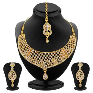 sukkhi,sangini,lime,flora,The Jewelbox,Jharjhar Necklace Sets (Imitation) - Sukkhi Classy Gold Plated Ad Necklace Set For Women - (Code - 2511NADP950)