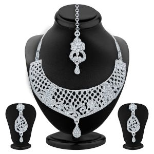 Kiara,Sukkhi,Fasense,Kalazone,Asmi,Surat Tex Women's Clothing - Sukkhi Glimmery Rhodium Plated Ad Necklace Set For Women - (Code - 2518NADP1000)