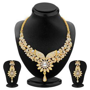 Kiara,Sukkhi,Ivy,Avsar,Surat Diamonds Women's Clothing - Sukkhi Fabulous Gold Plated Ad Necklace Set For Women - (Code - 2560NADP800)