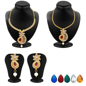 Kiara,Sukkhi,Ivy,Cloe,Sangini,N gal Women's Clothing - Sukkhi Brilliant Necklace Set Detachable To Pendant Set With Chain And Set Of 5 Changeable Stone For Women - (Code - 2564NADP550)