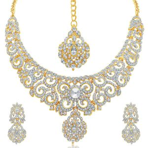 Asmi,Jagdamba,Sukkhi,Port,Jharjhar Jewellery - Sukkhi Attractive Gold Plated Ad Necklace Set For Women - (Code - 2726NADP1350)
