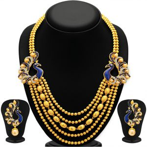 Hoop,Unimod,Clovia,Sukkhi,Kiara Women's Clothing - Sukkhi Graceful Five String Peacock Gold Plated Necklace Set For Women - (Code - 2913NGLDPP1700)
