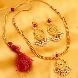 Kiara,Sukkhi,Ivy,Avsar,Sangini,Parineeta,Sleeping Story Women's Clothing - Sukkhi Marvellous Bahubali Inspired Gold Plated Necklace Set For Women - (Code - N72338GLDPV092017)