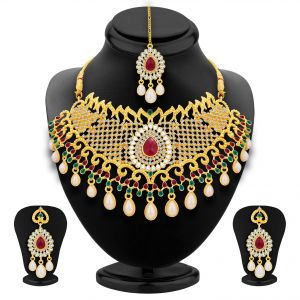Asmi,Sukkhi,Jharjhar Women's Clothing - Sukkhi Fancy Gold Plated Ad Necklace Set For Women - (Code - 3135NADS1600)