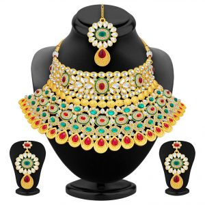 Asmi,Sukkhi,The Jewelbox,Parineeta,Clovia,Avsar,Kalazone,Bagforever Women's Clothing - Sukkhi Creative Gold Plated Ad Necklace Set For Women - (Code - 3144NGLDPS2500)