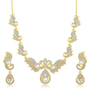 Oviya,Sukkhi,Jharjhar Fashion, Imitation Jewellery - Sukkhi Fabulous Gold Plated Ad Necklace Set For Women - (Code - 3179NADF900)
