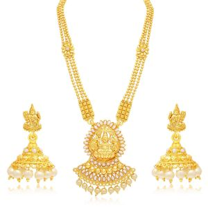 Asmi,Sukkhi,Jpearls,Ag Women's Clothing - Sukkhi Marquise Laxmi Temple Gold Plated Necklace Set For Women - (Code - 3190NGLDPP1400)