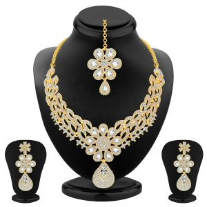 Asmi,Sukkhi,Surat Tex,See More Women's Clothing - Sukkhi Glittery Gold Plated Ad Necklace Set For Women - (Code - 3245NADP4700)