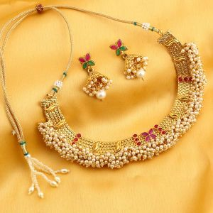 Kiara,Sukkhi,Jharjhar,Jpearls,Mahi,Flora Women's Clothing - Sukkhi Classic Reversible Gold Plated Necklace Set For Women - (Code - N71914GLDPGA092017)