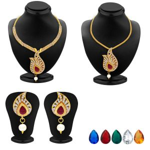 Asmi,Sukkhi,Triveni Women's Clothing - Sukkhi Luxurious Necklace Set Detachable To Pendant Set With Chain And Set Of 5 Changeable Stone For Women - (Code - 2566NADP550)
