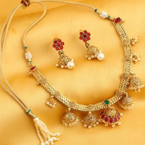 Sukkhi,Sangini Women's Clothing - Sukkhi Traditional Reversible Gold Plated Zhumar Necklace Set For Women - (Code - N71916GLDPGA092017)