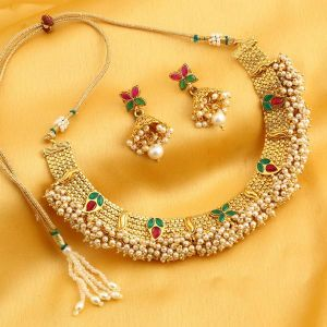 Kiara,Sukkhi,Ivy,Jpearls Women's Clothing - Sukkhi Attractive Reversible Gold Plated Necklace Set For Women - (Code - N71913GLDPGA092017)