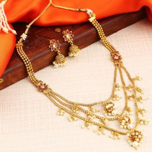 Kiara,Sukkhi,Cloe,Sangini Women's Clothing - Sukkhi Blossomy 3 String Gold Plated Jhumaki Necklace Set For Women - (Code - N72514GLDPI022018)