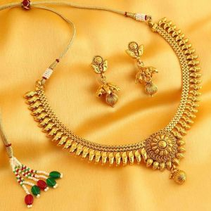 Jagdamba,Kalazone,Jpearls,Mahi,Sukkhi,Surat Diamonds,Bikaw Women's Clothing - Sukkhi Elegant Gold Plated Necklace Set For Women - (Code - 2805NGLDPV1750)