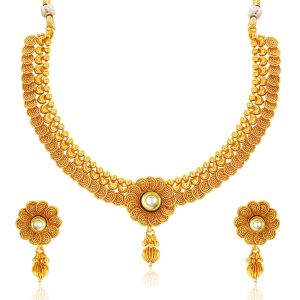Jagdamba,Clovia,Sukkhi,Estoss,The Jewelbox,Arpera Women's Clothing - Sukkhi Eye-Catchy Jalebi Design Gold Plated Necklace Set For Women - (Code - 2550NGLDPP1800)