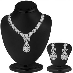 Jagdamba,Clovia,Sukkhi,Parineeta Women's Clothing - Sukkhi Pleasing Rhodium Plated Ad Stone Necklace Set - (Code - 1016V)