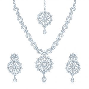 Kiara,Sukkhi,Ivy,Cloe,Sangini,M tech,Surat Diamonds Women's Clothing - Sukkhi Glittery Rhodium Plated Australian Diamond Stone Studded Necklace Set - (Code - 2019NADK1000)