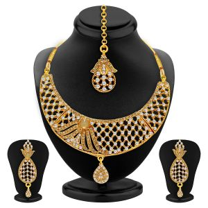 Kiara,Sukkhi,Ivy,Avsar,Surat Diamonds Women's Clothing - Sukkhi Lavish Gold Plated Ad Necklace Set For Women - (Code - 2508NADP900)