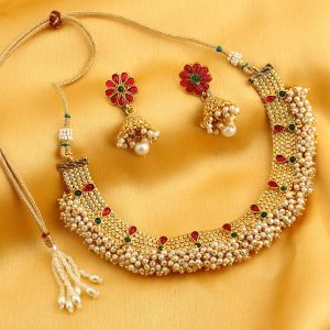 Kiara,Sukkhi,Ivy,Avsar,Sangini,Asmi,Flora,Hoop Women's Clothing - Sukkhi Dazzling Reversible Gold Plated Necklace Set With Floral Earrings For Women - (Code - N71917GLDPGA092017)