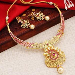 Kiara,Sukkhi,Ivy,Parineeta,Cloe,Sangini,Tng Women's Clothing - Sukkhi Dazzling Ad Gold Plated Necklace Set For Women - (Code - N72463ADAP022018)