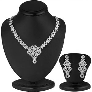 Jagdamba,Clovia,Sukkhi Women's Clothing - Sukkhi Classy Rhodium Plated Ad Stone Necklace Set - (Code - 1013V)