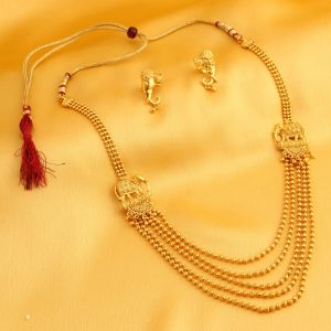Mahi,Oviya,Sukkhi Jewellery - Sukkhi Classic 5 String Bahubali Inspired Gold Plated Necklace Set For Women - (Code - N71871GLDPV092017)