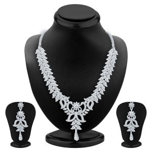 Jagdamba,Kalazone,Jpearls,Mahi,Sukkhi,Surat Diamonds,Bikaw Women's Clothing - Sukkhi Exquitely Rhodium Plated Ad Necklace Set For Women - (Code - 2558NADP550)
