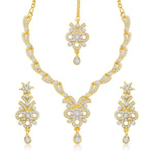 Sukkhi,Ivy,Parineeta,Platinum Women's Clothing - Sukkhi Intricately Gold Plated Australian Diamond Stone Studded Necklace Set - (Code - 2016NADK1100)