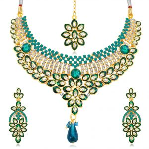 Asmi,Sukkhi,The Jewelbox,Parineeta,Clovia,Kaamastra Women's Clothing - Sukkhi Delightful Gold Plated Ad Collar Necklace Set For Women - (Code - N71695ADAP600)