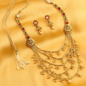 soie,flora,fasense,oviya,sukkhi Necklace Sets (Imitation) - Sukkhi Alluring Reversible 5 String Laxmi Design Gold Plated Necklace Set For Women - (Code - N71923GLDPGA092017)