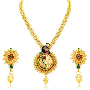 Hoop,Unimod,Clovia,Sukkhi,Tng,See More,Mahi,Port Women's Clothing - Sukkhi Exquisite Peacock Gold Plated Necklace Set For Women - (Code - 3191NGLDPP800)