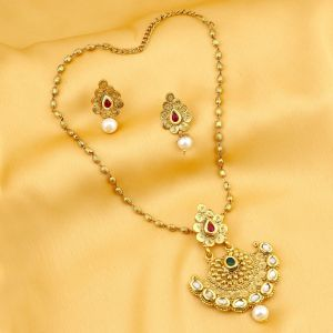 Asmi,Platinum,Ivy,Sukkhi Women's Clothing - Sukkhi Marvellous Gold Plated Kundan Necklace Set For Women - (Code - 2580NKDP900)