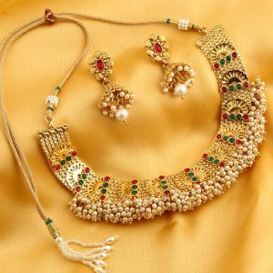 Hoop,Shonaya,Tng,Jharjhar,Estoss,Sukkhi Women's Clothing - Sukkhi Graceful Reversible Gold Plated Necklace Set For Women - (Code - N71915GLDPGA092017)