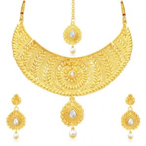 Kiara,Sukkhi,Jharjhar,Jpearls,Mahi,Diya,Asmi Women's Clothing - Sukkhi Modish Gold Plated Choker Necklace Set For Women - (Code - N71512GLDPAP1850)