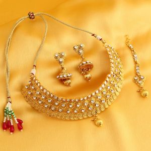 Sukkhi,Ivy,Parineeta,Platinum Women's Clothing - Sukkhi Appealing Gold Plated Necklace Set For Women - (Code - N72085GLDPD092017)