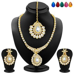 kiara,sukkhi,ivy,parineeta,cloe,unimod Necklace Sets (Imitation) - Sukkhi Magnificent Gold Plated Ad Necklace Set With Set Of 5 Changeable Stone - (Code - 2350NADA1340)
