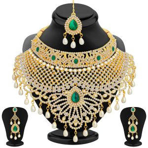 Sukkhi,Sangini,Lime,Asmi Women's Clothing - Sukkhi Incredible Gold Plated Ad Necklace Set For Women - (Code - 2418NADS3650)