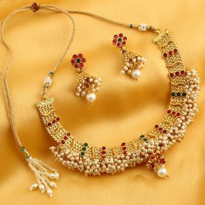 Kiara,Sukkhi,Ivy,Parineeta,Cloe,Sangini Women's Clothing - Sukkhi Trendy Reversible Gold Plated Necklace Set For Women - (Code - N71911GLDPGA092017)