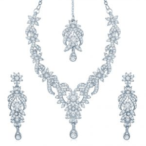 Oviya,Sukkhi,Kiara,The Jewelbox,Surat Diamonds Fashion, Imitation Jewellery - Sukkhi Attractive Rhodium Plated Australian Diamond Stone Studded Necklace Set - (Code - 2037NADK1050)