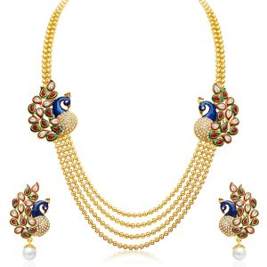 Hoop,Unimod,Clovia,Sukkhi,Flora Women's Clothing - Sukkhi Gleaming Peacock Four Strings Gold Plated Necklace Set - (Code - 2191NGLDPP1560)