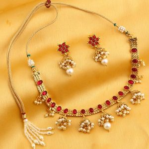 Asmi,Sukkhi,Sangini Women's Clothing - Sukkhi Fabulous Reversible Red Gold Plated Necklace Set For Women - (Code - N71920GLDPGA092017)
