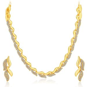 Rcpc,Sukkhi,Tng,La Intimo,Surat Diamonds Women's Clothing - Sukkhi Graceful Gold Plated Ad Necklace Set For Women - (Code - 2724NGLDPF1000)
