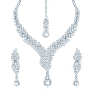 Lime,Sukkhi,Parineeta Women's Clothing - Sukkhi Beguilling Rhodium Plated Australian Diamond Stone Studded Necklace Set - (Code - 2011NADK1600)