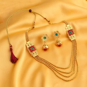 Rcpc,Jpearls,Surat Diamonds,Sukkhi,Ag,Gili Women's Clothing - Sukkhi Astonish Jalebi 4 String Gold Plated Necklace Set For Women - (Code - 3251NGLDPKN1000)