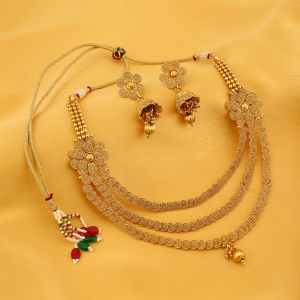 Rcpc,Sukkhi,Avsar Women's Clothing - Sukkhi Delightful Three String Jalebi Gold Plated Necklace Set For Women - (Code - 2907NGLDPP3100)